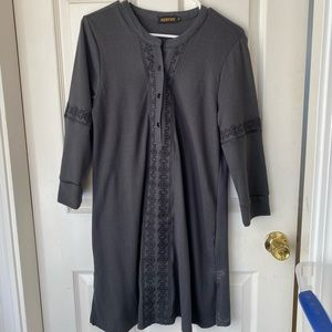 Charcoal embroidered tunic